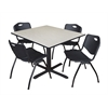 "Cain 48"" Square Breakroom Table- Maple & 4 'M' Stack Chairs- Black"