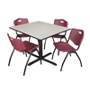 "Cain 48"" Square Breakroom Table- Maple & 4 'M' Stack Chairs- Burgundy"