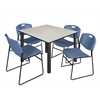 "Kee 48"" Square Breakroom Table- Maple/ Black & 4 Zeng Stack Chairs- Blue"