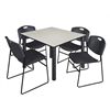 "Kee 48"" Square Breakroom Table- Maple/ Black & 4 Zeng Stack Chairs- Black"