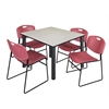 "Kee 48"" Square Breakroom Table- Maple/ Black & 4 Zeng Stack Chairs- Burgundy"