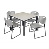 "Kee 48"" Square Breakroom Table- Maple/ Black & 4 Zeng Stack Chairs- Grey"
