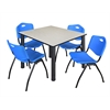 "Kee 48"" Square Breakroom Table- Maple/ Black & 4 'M' Stack Chairs- Blue"
