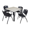 "Kee 48"" Square Breakroom Table- Maple/ Black & 4 'M' Stack Chairs- Black"
