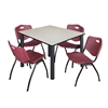 "Kee 48"" Square Breakroom Table- Maple/ Black & 4 'M' Stack Chairs- Burgundy"