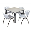 "Kee 48"" Square Breakroom Table- Maple/ Black & 4 'M' Stack Chairs- Grey"