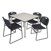 "Kee 48"" Square Breakroom Table- Maple/ Chrome & 4 Zeng Stack Chairs- Black"