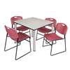 "Kee 48"" Square Breakroom Table- Maple/ Chrome & 4 Zeng Stack Chairs- Burgundy"