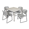 "Kee 48"" Square Breakroom Table- Maple/ Chrome & 4 Zeng Stack Chairs- Grey"