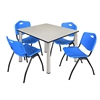 "Kee 48"" Square Breakroom Table- Maple/ Chrome & 4 'M' Stack Chairs- Blue"
