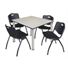 "Kee 48"" Square Breakroom Table- Maple/ Chrome & 4 'M' Stack Chairs- Black"