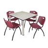 "Kee 48"" Square Breakroom Table- Maple/ Chrome & 4 'M' Stack Chairs- Burgundy"