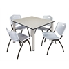 "Kee 48"" Square Breakroom Table- Maple/ Chrome & 4 'M' Stack Chairs- Grey"