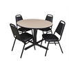 "Cain 48"" Round Breakroom Table- Beige & 4 Restaurant Stack Chairs- Black"