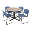 "Cain 48"" Round Breakroom Table- Beige & 4 Zeng Stack Chairs- Blue"