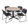 """Cain 48"""" Round Breakroom Table- Beige & 4 Zeng Stack Chairs- Black"""