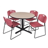 "Cain 48"" Round Breakroom Table- Beige & 4 Zeng Stack Chairs- Burgundy"