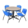 "Cain 48"" Round Breakroom Table- Beige & 4 'M' Stack Chairs- Blue"