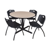 "Cain 48"" Round Breakroom Table- Beige & 4 'M' Stack Chairs- Black"
