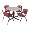 "Cain 48"" Round Breakroom Table- Beige & 4 'M' Stack Chairs- Burgundy"