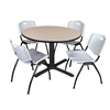 "Cain 48"" Round Breakroom Table- Beige & 4 'M' Stack Chairs- Grey"