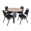 "Kee 48"" Round Breakroom Table- Beige/ Black & 4 Restaurant Stack Chairs- Black"