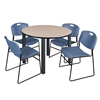 "Kee 48"" Round Breakroom Table- Beige/ Black & 4 Zeng Stack Chairs- Blue"
