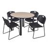 "Kee 48"" Round Breakroom Table- Beige/ Black & 4 Zeng Stack Chairs- Black"