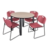"Kee 48"" Round Breakroom Table- Beige/ Black & 4 Zeng Stack Chairs- Burgundy"