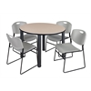 "Kee 48"" Round Breakroom Table- Beige/ Black & 4 Zeng Stack Chairs- Grey"