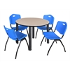"Kee 48"" Round Breakroom Table- Beige/ Black & 4 'M' Stack Chairs- Blue"