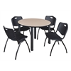 "Kee 48"" Round Breakroom Table- Beige/ Black & 4 'M' Stack Chairs- Black"