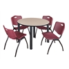 "Kee 48"" Round Breakroom Table- Beige/ Black & 4 'M' Stack Chairs- Burgundy"