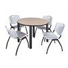 "Kee 48"" Round Breakroom Table- Beige/ Black & 4 'M' Stack Chairs- Grey"