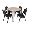 """Kee 48"""" Round Breakroom Table- Beige/ Chrome & 4 Restaurant Stack Chairs- Black"""