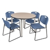 """Kee 48"""" Round Breakroom Table- Beige/ Chrome & 4 Zeng Stack Chairs- Blue"""