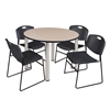 "Kee 48"" Round Breakroom Table- Beige/ Chrome & 4 Zeng Stack Chairs- Black"