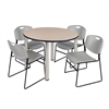 "Kee 48"" Round Breakroom Table- Beige/ Chrome & 4 Zeng Stack Chairs- Grey"
