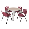 "Kee 48"" Round Breakroom Table- Beige/ Chrome & 4 'M' Stack Chairs- Burgundy"