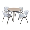 "Kee 48"" Round Breakroom Table- Beige/ Chrome & 4 'M' Stack Chairs- Grey"