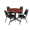 "Cain 48"" Round Breakroom Table- Cherry & 4 Restaurant Stack Chairs- Black"