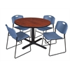 "Cain 48"" Round Breakroom Table- Cherry & 4 Zeng Stack Chairs- Blue"
