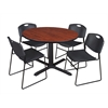 "Cain 48"" Round Breakroom Table- Cherry & 4 Zeng Stack Chairs- Black"