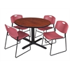 "Cain 48"" Round Breakroom Table- Cherry & 4 Zeng Stack Chairs- Burgundy"