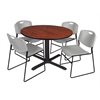 "Cain 48"" Round Breakroom Table- Cherry & 4 Zeng Stack Chairs- Grey"