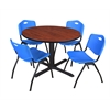 "Cain 48"" Round Breakroom Table- Cherry & 4 'M' Stack Chairs- Blue"