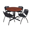 "Cain 48"" Round Breakroom Table- Cherry & 4 'M' Stack Chairs- Black"