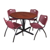 "Cain 48"" Round Breakroom Table- Cherry & 4 'M' Stack Chairs- Burgundy"