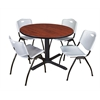 "Cain 48"" Round Breakroom Table- Cherry & 4 'M' Stack Chairs- Grey"