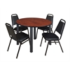 "Kee 48"" Round Breakroom Table- Cherry/ Black & 4 Restaurant Stack Chairs- Black"